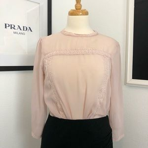 Soft Pink Mesh Long Sleeve Top